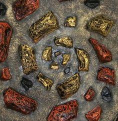 DOPPIA SPIRALE cm.100x100c7 polestirene, carta e colori acrilici su tela.