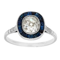 Platinum 1 1/10ct TDW Diamond and Sapphire Estate Engagement Ring (J-K, I1-I2) - Overstock Shopping - Top Rated Estate and Vintage Rings