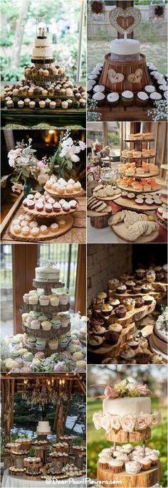 Rustic fall wedding ideas - Rustic country wedding cupcakes & stands / http://www.deerpearlflowers.com/rustic-wedding-cupcakes-stands/
