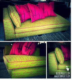 Couch: re-upholsterd in lime and pink printed fabric. www.bezooprojects.com Printing On Fabric, Upholstery, Lime, Arts And Crafts, Couch, Printed, Furniture, Tapestries, Limes