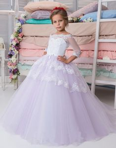 Flower Girl Dress, Princess White Purple Lace Ball Gown Flower Girl Dresses Floor Length Girls Pageant Gowns Girls Communion Dresses Kids Formal Party Gown