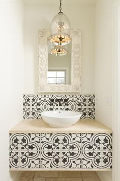 vanity with cement tile accents . Would be nice as a guest powder room. Pintrest: jaytee
