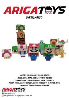 Kit Papercraft Super Mario com 15 personagens para montar. Vem com 16 folhas. Monte já o seu!!! Valor do kit R$ 20,00. www.facebook.com/arigatoys