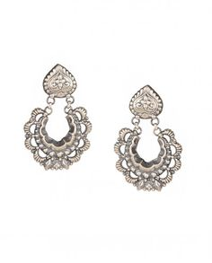 Silver Crescent Earrings with Floral Motifs - Silvermerc - Designers