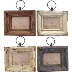 "Showcase your favorite memories or family photos in these beautifully weathered frames.Product: 4 Piece picture frame setConstruction Material: WoodColor: Red, white and blueFeatures: DistressedDimensions: 10.5"" H x 9.5"" W each"