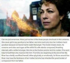 i really love her: River Song, Rory William's daughter. This is so perfect and perfectly explains how River dealt with losing her parents. She wasn't being cold or uncaring she was coping and being an anchor Geronimo, Dr Who, Space Man, Leelah, Rory Williams, Don't Blink, Torchwood, Superwholock, Tardis