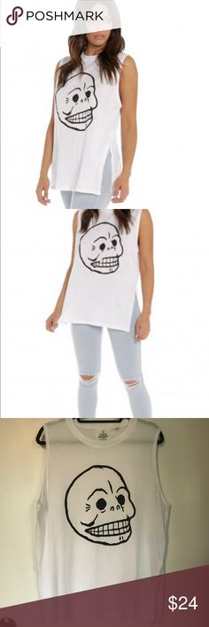 White Cheap Monday Muscle Tank Small High Slits Worn only once.  Oversized. Cheap Monday Tops Muscle Tees