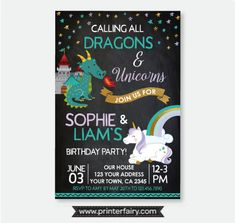 Dragon and Unicorn Birthday Invitation, Siblings Invitation, Magical Birthday Party, Personalized Pr Combined Birthday Parties, Dragon Birthday Parties, Joint Birthday Parties, Dragon Party, Dinosaur Birthday Party, Unicorn Party, Birthday Party Themes, Birthday Ideas, Twin First Birthday