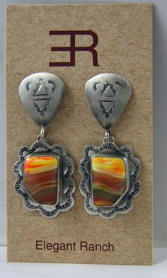 On eBay NOW! Navajo Sterling Stamped Antique Finish Post Earrings - Unusual Sunrise Stone