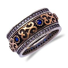 Turkish 925 Stamped Sterling Silver Fashion Ring Band Sapphire Jade Clear Topaz | eBay