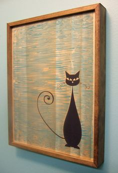 This item will ship 12/26/12 Mid Century Modern Style Cat Print Screen printed by hand on a wood background with a stained wood frame.
