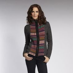 Love the folksy, colorful pattern with the simple grey zip sweater