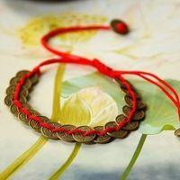 Unisexe qualité Style tibétain Fortune - apportant chinois des pièces en Bronze antique en soie rouge cordes Bracelet bijoux ethnique taille gratuit