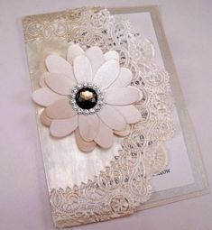 Vintage Couture Wedding Invitation Swarovski Crystal Smokey Jewel Doily Clutch