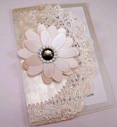 Vintage Couture Wedding Invitation Swarovski Crystal Smokey Jewel Doily Clutch
