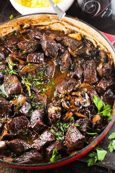 Wild Mushroom and Beef Stew - Fragrant mushrooms and tender meat are combine with fresh herbs to give this classic beef stew a gourmet twist.