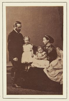 Prince and Princess Louis of Hesse with their children, Princess Victoria and Princess Elizabeth, 1865 [in Portraits of Royal Children Vol.9 1865] | Royal Collection Trust