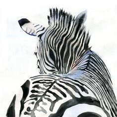 Zebra Art Print of Watercolor Painting Safari Africa black white large huge big custom canvas hand painted Zebra Kunst, Zebra Art, Zebra Painting, Contemporary Abstract Art, Modern Art, Watercolor Animals, Watercolor Paintings, Watercolours, Illustration Manga