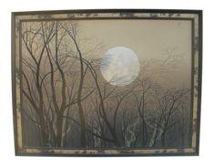 1980s Fall Full Moon Painting, Framed on Chairish.com