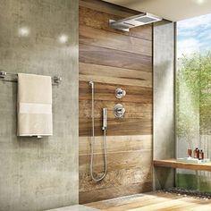 Composição de madeira e cimento queimado! Lindooo! Tudo em porcelanato! #banheiro #decoracaodebanheiro