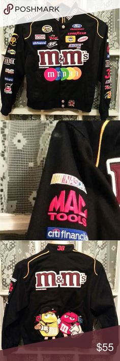 M&M's M&M JH Design Racing Black Jacket Childs Jacket with NASCAR and Candy appliques on front, back and sleeves . Very small chalk mark on left shoulder. Excellent condition Jackets & Coats Jean Jackets
