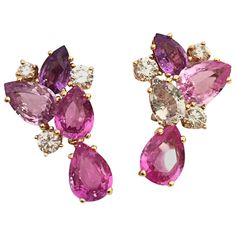 "Bulgari - Sapphire Diamond Gold Flora Earrings - A yellow gold pair of Bulgari earrings ""Flora"" collection, carats of pink sapphires and diamonds. Sapphire And Diamond Earrings, Sapphire Jewelry, Blue Earrings, Clip On Earrings, Gold Jewelry, Jewelery, Fine Jewelry, Diamond Jewelry, Blue Sapphire"