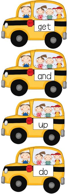 Sight Word Bus - laminate and then write new words each week with dry erase marker Teaching Sight Words, Sight Word Practice, Sight Word Games, Sight Word Activities, Literacy Activities, Exercise Activities, Kindergarten Freebies, Kindergarten Language Arts, Kindergarten Literacy