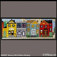Row Houses  sold  -     Detail abounds with squirrle, cat,  bicycle, stained glass windows and more.