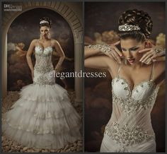 Wholesale Mermaid Wedding Dresses - Buy New 2014 Gorgeous Crystal Hot Sexy Elegent Sweetheart Straps Wedding Dresses Transparent Mermaid Dresses Bridal Gowns Arab08, $225.0 | DHgate
