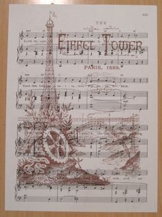 antique french wrttten sheet music' | NEW eiffel tower french market vintage sheet music by OkioBDesigns