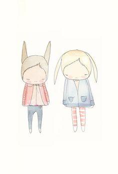 Rabbit Illustration - Cute Illustration - Quirky Rabbit Friends. $16.00, via Etsy.