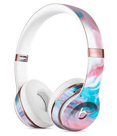 Marbleized Teal and Pink DesignSkinz Full-Body Skin Kit for The Beats by DRE Solo 3 Wireless Headphones/Ultra-Thin/Matte Finished/Protective Skin Wrap Cute Headphones, Sports Headphones, Bluetooth Headphones, Over Ear Headphones, Beats By Dre, Accessoires Iphone, Teal And Pink, Phone Accessories, Headset
