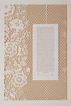 The LACE papercut ketubah / wedding vows por RuthMergi en Etsy