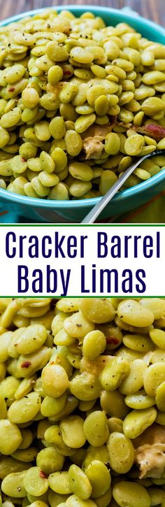 Cracker Barrel Baby Limas are flavored with bacon, garlic, onion powder, red pepper flakes, and chicken bouillon. Vegetable Sides, Vegetable Side Dishes, Veggie Box, Side Dish Recipes, Vegetable Recipes, Cooking Vegetables, Lima Bean Recipes, Healthy Ground Turkey, Restaurant Recipes