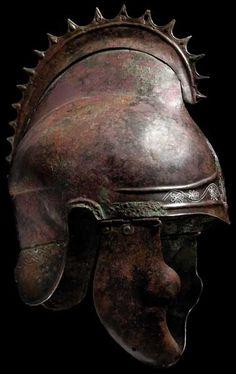 """Helmet of Phrygian-Chalcidian type, so-called """"griffin crest helmet"""", 4th century B.C. Bronze."""