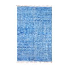 45998 4.0 x 6.0 - Mohr & McPherson 4.0 x 6.0 cotton dhurrie with printed blue pattern inspired by traditional hmong fabrics.
