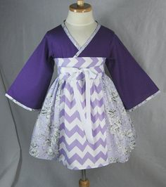 Little Girls Dress in Purple Chevrons  Kimono by pinkmouse on Etsy, $49.00