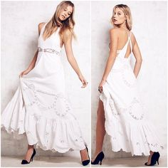 White Cotton In a Dream Eyelet Crochet Maxi Dress New with tags! Ruffles and macrame galore! I think this would make a great spring/summer dress and even a wedding dress for the June bride if her heart so desires! NO TRADES!!  Free People Dresses Maxi