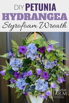 Learn to wreath like a pro! Southern Charm Wreaths specializes in teaching the art of making and selling designer, elegant door wreaths like this purple petunia and hydrangea door wreath. Save money, make it yourself! Wreaths For Front Door, Door Wreaths, Diy Home Decor Projects, Decor Ideas, Purple Petunias, Make Blog, Types Of Flowers, Summer Diy, Fall Wreaths