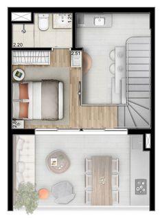 Planta do Duplex – pavimento superior - 55m²