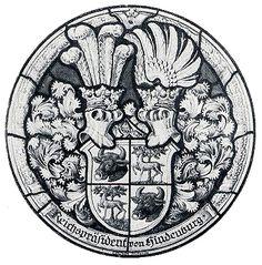 Wappen der Familie von Hindenburg - Reichspräsident Paul von Hindenburg / Rondel with Coat of Arms of The Family von Hindenburg - President Paul von Hindenburg / Armas de la Familia von Hindenburg - Présidente Paul von Hindenburg