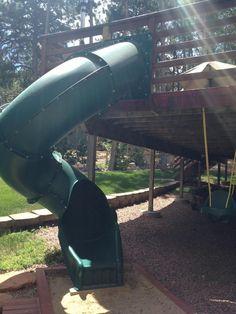 Slide and swing attached to house deck!