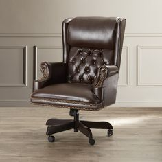 Darby Home Co Brassie Executive Chair Upholstery Colour: Brown High Back Office Chair, Black Office Chair, Mesh Office Chair, Home Office Chairs, Traditional Office Chairs, Leather Dining Room Chairs, Desk Chairs, Executive Office Chairs, Chair Upholstery