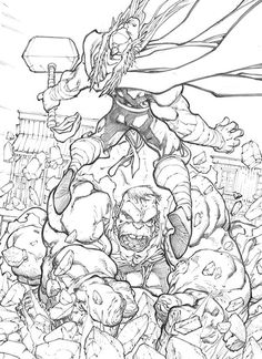 Pencils — The Hulk Battle Thor By Mike Bowden