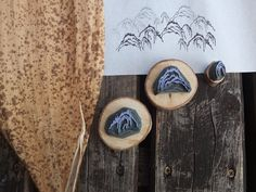 Japanese mountain range stamp set by HandCarvedStamps on Etsy