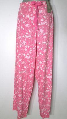 New Womens Charter Club Pajama Pants Pink Stars Cotton Knit #CharterClub…