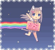 Pixel Nyan Chibi Cat - Gray hair and blue eyes | Art by *DAV-19 (DeviantART)