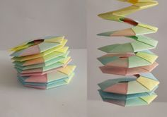 origami  resorte - spiralling wreaths  use narrower strips of paper and do in silver or gold will look like icicles