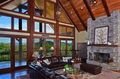 Gorgeous living room with an amazing view of the Blue Ridge Mountains - VPC Builders