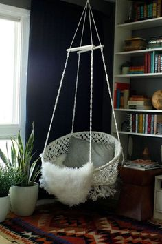 Top Pin For Home Decor: DIY Hanging Macramé ChairThere's no shortage of hanging chair pics on Pinterest. But, users are particularly excited about this DIY macramé version. #refinery29 http://www.refinery29.com/top-pinterest-images#slide-4